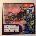 Születésnapi képeslap motorkerékpár, motor, Férfiaknak, Mindenmás, Naptár, képeslap, album, Képeslap, levélpapír, Mindenmás, Papírművészet, Scrapbook és punchart technikával készült kinyitható születésnapi üdvözlőlap borítékkal.  Mérete 14..., Meska