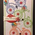 Születésnapi képeslap kerékpár, virág, Mindenmás, Naptár, képeslap, album, Képeslap, levélpapír, Mindenmás, Papírművészet, Teljesen egyedi scrapbook és punchart technikával készült születésnapi képeslap. Kedvenc témám a ke..., Meska
