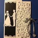 Esküvői képeslap 3D, Naptár, képeslap, album, Esküvő, Képeslap, levélpapír, Meghívó, ültetőkártya, köszönőajándék, Scrapbook és punchart technikával készítettem az esküvői lapot. Ezüst szalaggal összeköthet..., Meska