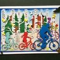 Családi biciklikirándulás 3D-s képeslap, Naptár, képeslap, album, Mindenmás, Képeslap, levélpapír, Ezt a kedves kis üdvözlőlapot különféle alkalmakra lehet elküldeni, szülinapra, névnapra, s..., Meska