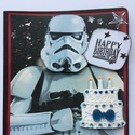 Star Wars születésnapi képeslap, Naptár, képeslap, album, Képeslap, levélpapír, Star wars rajongóknak készítettem  ezt a képeslapot. Vegyes technikával (szalvéta, papírkivá..., Meska