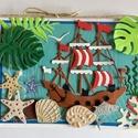 Itt a vitorlás szezon! Vitorlás hajó képeslap, nyár, nyaralás, tenger, kagyló, csiga,hal, cica, Dekoráció, Naptár, képeslap, album, Kép, Képeslap, levélpapír, Papírművészet, Ezt a képeslapot is a tenger és a hajózás ihlette. Mérete 12cmx16,3cm.  Kinyitható, belül külön lap..., Meska