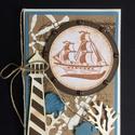Hajós képeslap, tenger, tengerész, vakáció, hajózás,vitorlás, vitorlázás, Férfiaknak, Naptár, képeslap, album, Mindenmás, Képeslap, levélpapír, Papírművészet, Hajós képeslapot készítettem, gondolva a fiúkra, férfiakra is. Bármilyen alkalomra adható, kinyitha..., Meska