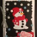 Karácsonyi képeslap, hóember, Advent, Karácsony, Mikulás, ajándékkísérő