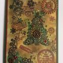 Karácsonyi képeslap,steampunk, üdvözlet, fenyőfa, karácsonyfa, ajándékkísérő, pénzátadó, Dekoráció, Karácsonyi, adventi apróságok, Naptár, képeslap, album, Ünnepi dekoráció, Ajándékkísérő, képeslap, Képeslap, levélpapír, Steampunk technikával készítettem ezt a teljesen egyedi üdvözlőlapot. Méretei:11,5cmx16cm. Ki..., Meska