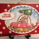 Karácsonyi képeslap, üdvözlőlap, kutya, autó, karácsonyfa