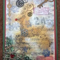 Karácsonyi képeslap, steampunk szarvas, Rudolf, üdvözlőlap, Karácsonyi, adventi apróságok, Naptár, képeslap, album, Ajándékkísérő, képeslap, Képeslap, levélpapír, Steampunk technikával készítettem ezt a teljesen egyedi üdvözlőlapot. Méretei: 10,5cmx14,8cm,..., Meska
