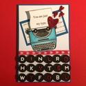 Retro, Valentin napi, szerelmes képeslap, írógép, szív, szerelem, love, 3D-s, Szerelmeseknek, Naptár, képeslap, album, Képeslap, levélpapír, 3D-s szerelmes képeslapomon kedvenc retro írógépemet használtam az üzenet közvetítésére. K..., Meska