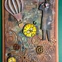 Steampunk képeslap, fogaskerék, óra, léghajó, gép,kulcs 3D, Férfiaknak, Naptár, képeslap, album, Steampunk ajándékok, Képeslap, levélpapír, Ezúttal férfias, steampunk képeslapot alkottam, amely bármilyen alkalomra adható. Kinyitható, ..., Meska