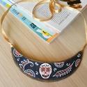 Halloween ékszer -Mexikói koponya - farmer nyaklánc - piros színnel, Ékszer, óra, Medál, Nyaklánc,  A koponya ünnepe Mexikóban, mely ékszerkészítést ihletett!  A halottak napja Latin-Amerikába..., Meska
