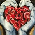 Szánd meg hát szomorú szívem..., Otthon, lakberendezés, Dekoráció, Képzőművészet, Festmény, Festészet, Akril festmény farmervászon alapon. Mérete: 25 x20 cm(keret nélkül)  Amennyiben kéred, kerettel is ..., Meska