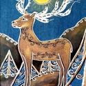 Csodaszarvas festmény farmer alapon, Férfiaknak, Otthon, lakberendezés, Képzőművészet, Magyar motívumokkal, A csodaszarvas az újjászületés és a megújulás, valamint a Nap jelképe.  A sumér, szittya é..., Meska