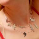 Ezüst madaras lánc, Ékszer, Nyaklánc, Medál, A kis madarakat külön fűrészelgettem ki, forrasztottam rá zsanérokat és úgy rögzítettem a láncon.  S..., Meska