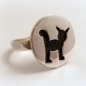 cicás gyűrű, Ékszer, Képzőművészet, Gyűrű, A rénszarvasos szett egyik eleme cica mintával :)  Átmérője a körnek kb másfél-2 cm.  Bármilyen mére..., Meska