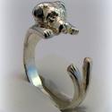Ezüst  Cane Corso, Ékszer, óra, Képzőművészet, Gyűrű, viaszból mintáztam és utána ezüstből kiöntettem a gyűrűt  állítható méretű, Meska