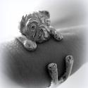 Ezüst mopsz gyűrű, Ékszer, óra, Képzőművészet, Gyűrű, Fémmegmunkálás, Ötvös, Viaszból mintáztam ezt a mopsz gyűrűt. Bármilyen méretben elkészítem  Más állatból is csinálok ilye..., Meska