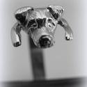 Ezüst jack russel gyűrű, Ékszer, Képzőművészet, Gyűrű, Ötvös, Ékszerkészítés, viaszból mintáztam és utána 925-ös ezüstből kiöntettem a gyűrűt és kidolgoztam  állítható méretű  S..., Meska