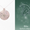 Ezüst bika horoszkóp medál, bika állatövi jegy, bika csillagkép, Ékszer, Medál, Nyaklánc, 925-ös ezüstből készül a medál színezett felületű réz drótokkal A drótok színét a földjegyek alapján..., Meska