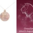 Ezüst oroszlán horoszkóp medál, oroszlán állatövi jegy, oroszlán csillagkép ví, Ékszer, Medál, Nyaklánc, 925-ös ezüstből készül a medál színezett felületű réz drótokkal A drótok színét a földjegyek alapján..., Meska