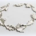 Ezüst levél, falevél karkötő, Ékszer, Nyaklánc, Medál, 925-ös ezüstből készült ez az általam tervezett faleveles karkötő  rendeléskor egy körülbelüli csukl..., Meska