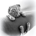 Ezüst mopsz gyűrű, Ékszer, Képzőművészet, Gyűrű, Viaszból mintázom az állatos gyűrűket, utána ezüstből kiöntetem.  Van lehetőség aranyból is kérni, e..., Meska