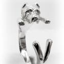 Vágott fülű Cane Corso gyűrű, Ékszer, Képzőművészet, Gyűrű, Viaszból mintázom az állatos gyűrűket, utána ezüstből kiöntetem.  Van lehetőség aranyból is kérni, e..., Meska