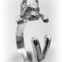 Ezüst Westie gyűrű, Ékszer, Képzőművészet, Gyűrű, Szobor, Viaszból mintázom az állatos gyűrűket, utána ezüstből kiöntetem. Van lehetőség aranyból is kérni, eh..., Meska