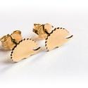Arany sünis füli, Ékszer, Fülbevaló, Arany lemezből fűrészeltem ki a mintát 14K-os arany, Meska