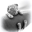 Ezüst mopsz gyűrű, Ékszer, Képzőművészet, Gyűrű, Viaszból mintáztam ezt a mopsz gyűrűt. Bármilyen méretben elkészítem  Más állatból is csinálok ilyen..., Meska