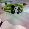 Cherry !makramé karkötő zöldben, Ékszer, Karkötő,   Makramé karkötőt készítettem .,viaszolt szálból.  Mérete szabályozható.  Más színben,i..., Meska