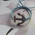 Nyári emlék !makramé karkötő kékben, Ékszer, Karkötő,   Makramé karkötőt készítettem .,viaszolt szálból.   Mérete szabályozható.  Más színben,..., Meska