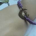 Cica !makramé karkötő lilában, Ékszer, Karkötő,   Makramé karkötőt készítettem .,viaszolt szálból.   Mérete szabályozható.  Más színben,..., Meska