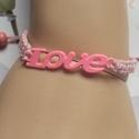 Love !makramé karkötő rózsaszín, Ékszer, Szerelmeseknek, Karkötő, .  Makramé karkötőt készítettem .,viaszolt szálból.  Még egy kéket találsz a kínálatomba..., Meska