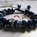 Kristály  makramé karkötő (kék), Ékszer, Karkötő,   Makramé karkötőt készítettem csillogó kristály gyöngyből.  Mérete szabályozható.  , Meska