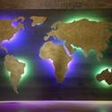Fali Világtérkép RGB LED Háttérvilágítással, Otthon, lakberendezés, Lámpa, Fali-, mennyezeti lámpa, Famegmunkálás, Fali Világtérkép RGB LED Háttérvilágítással  A térkép részletek lézerrel kivágott rétegelt lemezből..., Meska