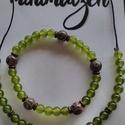 Rügyfakadás nyaklánc-karkötő szett, Zöld jade-Dzi kő, A zöld szerelmeseinek ajánlom ez a szettet, csod...