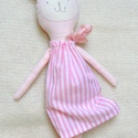 Lelle  Nyuszi, Játék, Baba, babaház, Báb, Játékfigura, Újrahasznosított alapanyagból készült termékek, Varrás, Rózsaszín-fehér csíkos ruhás gyönyörű nyuszika  útra készen áll, hogy új otthonába költözzön. A sap..., Meska