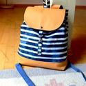 Bali Batik Hátizsák , Táska, Hátizsák, Egy általad választott pamutvászon és egy ozzá illő textilbőrből készült ez a hátizsák.  Vliessel al..., Meska