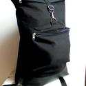 ROLLTOP Lux Hátizsák - BLACK -, Táska, Hátizsák, Varrás, Rolltop vagyis feltekerős hátizsák erős vászonból.  Alá van bélelve jó erősen. Elöl egy cipzáras zs..., Meska