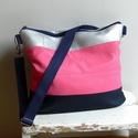 Pinki válltáska, Táska, Neszesszer, Szatyor, Válltáska, oldaltáska, Varrás, Pink, sötétkék, ezüst és fekete színű textilbőrből készült ez a táska. Cipzárral zárható.  Az elejé..., Meska