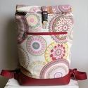 """Rolltop Hátizsák """"Mandalák"""" BORDÓ, Táska, Hátizsák, Rolltop vagyis feltekerős hátizsák, kisméretű. Gyönyörű erős dekor anyag és extra strapabíró textilb..., Meska"""