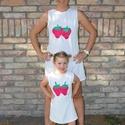 Epres nyári ruha kollekció, Baba-mama-gyerek, Ruha, divat, cipő, Női ruha, Kézzel készített eper mintás bővebb szabású  nyári ruha.  A nyaka és az ujja fehér szalagg..., Meska