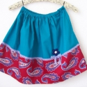 """""""Paisley""""-lányka szoknya, Ruha, divat, cipő, Gyerekruha, Kamasz (10-14 év), Női ruha, Varrás, Türkizkék és bordó paisley mintás pamutvászon anyagok találkozása egy gombvirággal feldobva. Dereka..., Meska"""