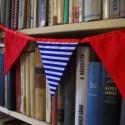 """""""Tengerész"""" zászlófüzér, Baba-mama-gyerek, Dekoráció, Gyerekszoba, Piros-fehér-kék színek és matróz csíkok adják a tengerész stílust ennek a zászlófüzérnek. Megfordíth..., Meska"""