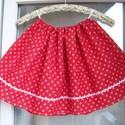 Mini kékfestő pirosban- kislány szoknya, Ruha, divat, cipő, Női ruha, Gyerekruha, Kisgyerek (1-4 év), Piros kékfestő mintájú kislány szoknya, fehér farkasfoggal. Dereka gumírozott, adott méretre állítom..., Meska