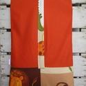 Dzsungeles oviszsák , Baba-mama-gyerek, Gyerekszoba, Tárolóeszköz - gyerekszobába, Dzsungel mintás textilből és narancs színű pamutvászonból készült oviszsák. Béléssel, 2 zsebbel. Mér..., Meska