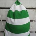 """""""Fradi""""-zöld-fehér tornazsák, Táska, Hátizsák, Válltáska, oldaltáska, Zöld-fehér csíkos, erős vászonból készült tornazsák. Mérete: 35x45 cm. , Meska"""