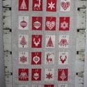 Adventi naptár (kisebb), Otthon, lakberendezés, Naptár, képeslap, album, Falikép, Naptár, Varrás, Skandináv stílusú adventi naptár bézs-piros színekben.  Az alap mérete 70x40 cm, a zsebek 5,5x7,5cm..., Meska