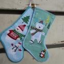 Karácsonyi stockingok (kicsi), Dekoráció, Baba-mama-gyerek, Gyerekszoba, Tárolóeszköz - gyerekszobába, Amerikai szokás a kandallóra akasztott stocking, azaz zokni, amit a Mikulás telerak mindenféle jóval..., Meska