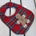 """""""Mézi piros alapon""""- babaelőke , Baba-mama-gyerek, Baba-mama kellék, Karácsonykor még a baba partedlije is ünnepi legyen! Ez a mézi mintás előke karácsonyi kockás szövet..., Meska"""